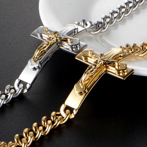 Stainless Steel Silver Gold Cross Crucifix Jesus Cuban Link Chain Men/'s Bracelet