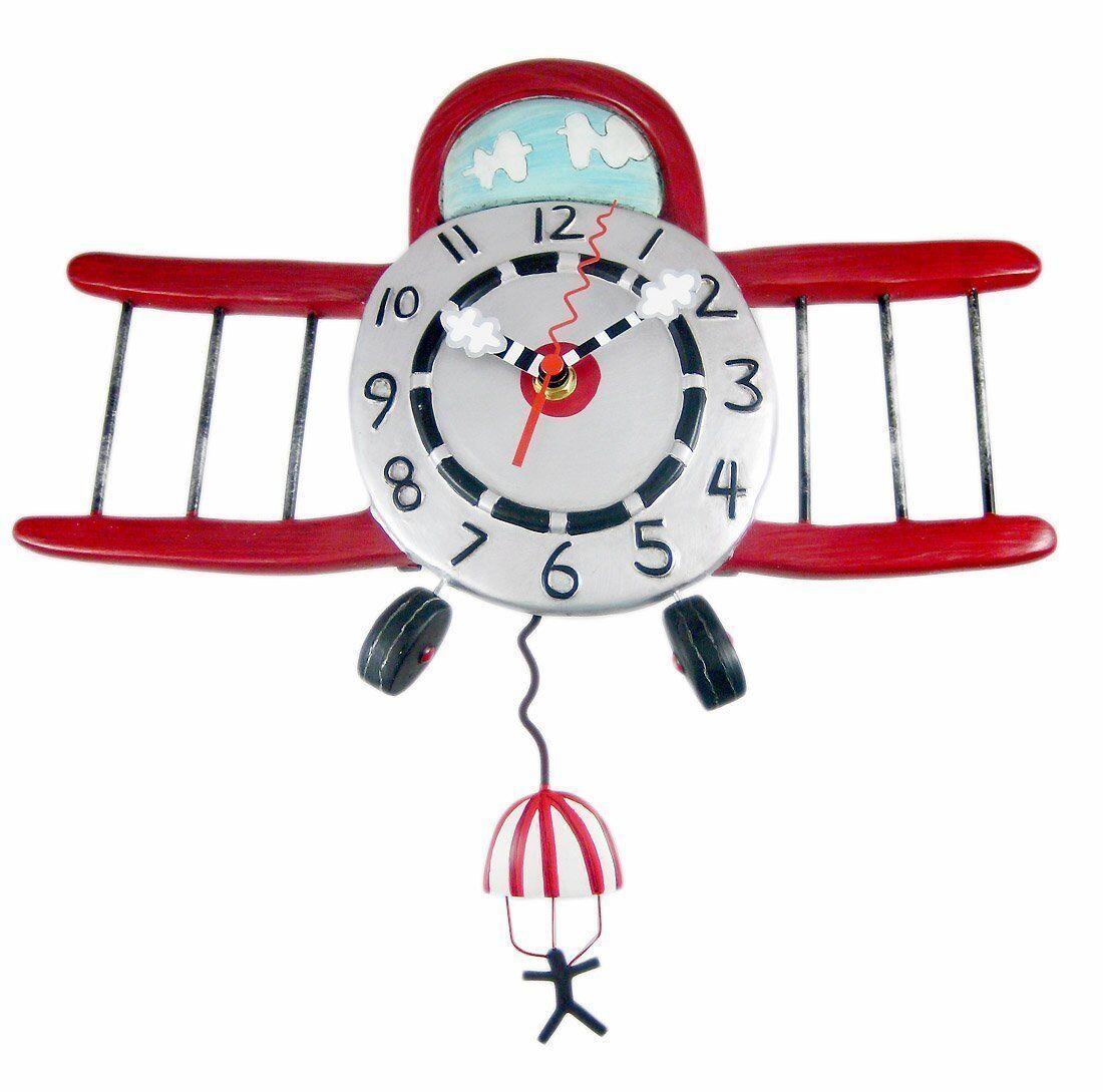 Allen Designs Airplane Jumper Pendulum Childs Kids Whimsical Wall Clock