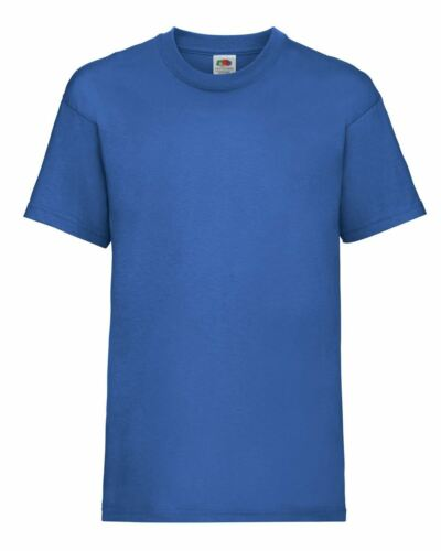 Plain Blue Fruit of the Loom Cotton Childrens Kids Boys Girls T Shirt Tee