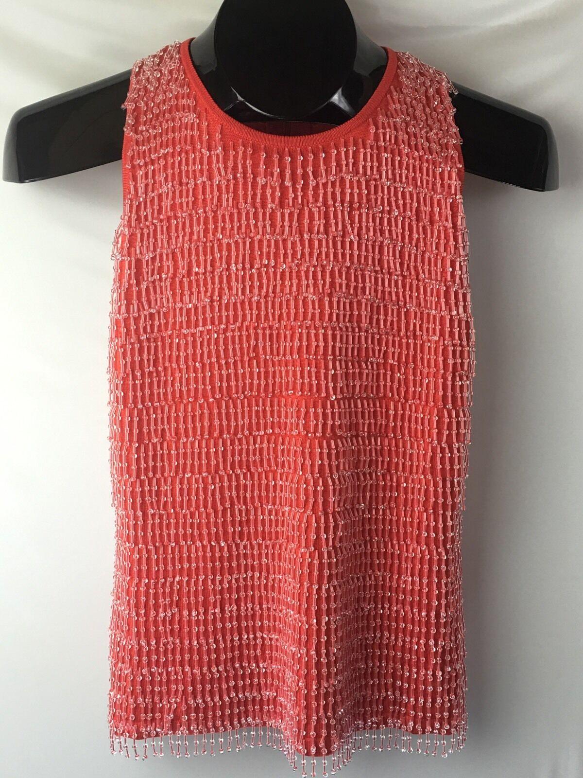 WORTH Womens Salmon Beaded Tank Sleeveless Sweater size P XS Silk Blend