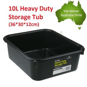 10L Heavy Duty Storage Tubs Black Plastic Containers Crate Bin Boxes Litre NEW