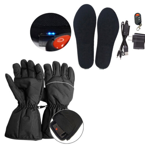 Rechargeable Electric Heated Shoe Insoles Feet Warmer Motorcycle Hand Gloves
