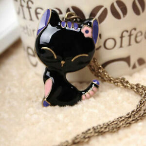 Damen-Katze-Halskette-Vintage-Schwarze-Kitty-Anhaenger-Collier-Schmuck-Geschenk