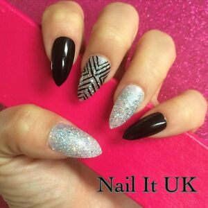 Image Is Loading Hand Painted Full Cover False Nails Stiletto Black