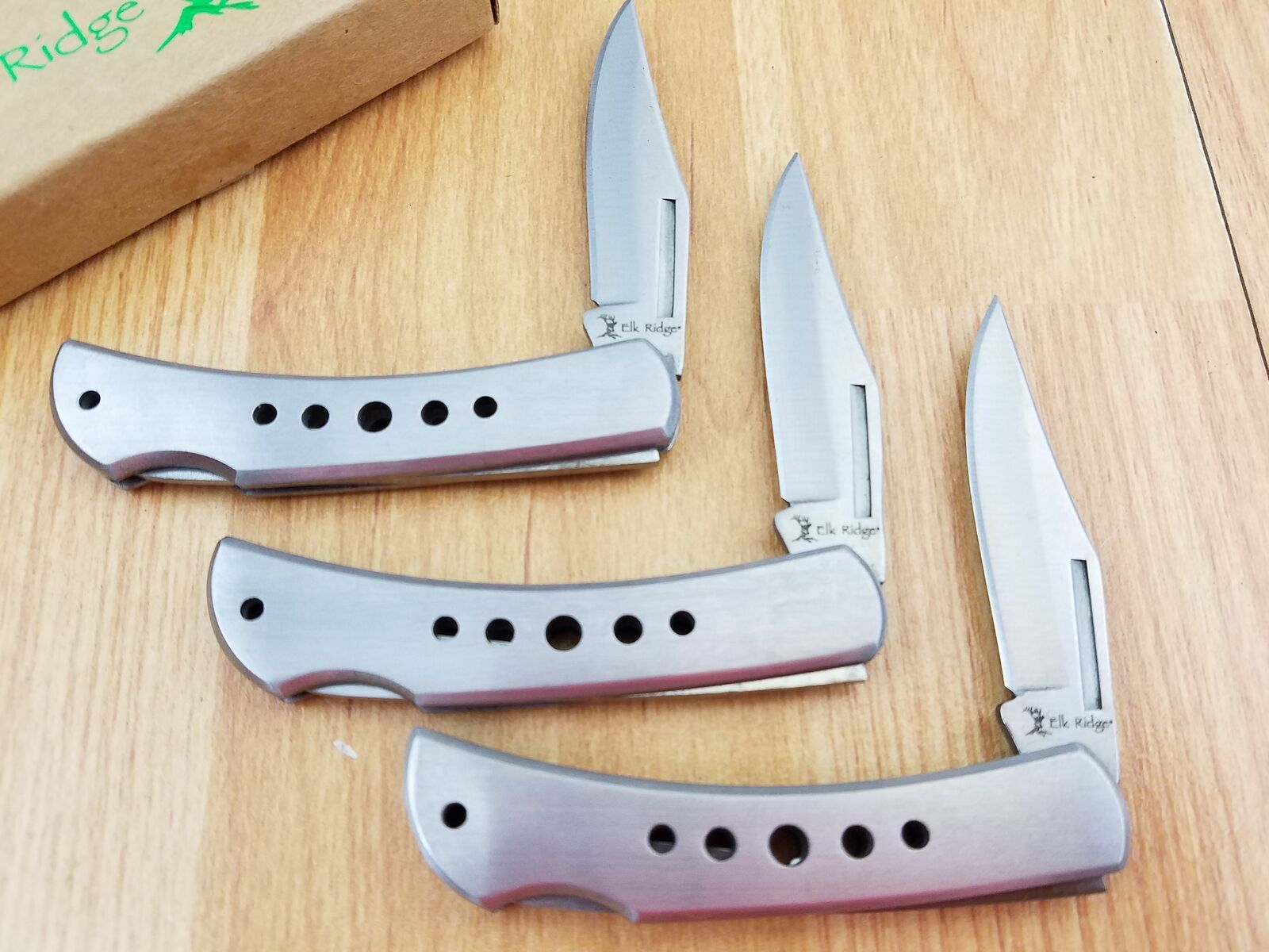 Elk Ridge LOT OF 3 Silver Stainless Lockback Folding Pocket Knife 125S3