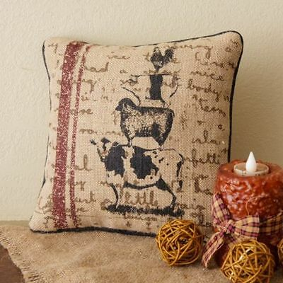 "NEW ANIMAL STACK Burlap Pillow 10"" Rooster Pig Cow Sheep Primitive Country"