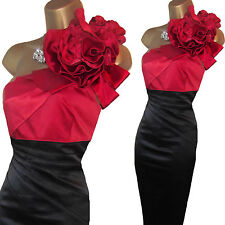Karen Millen Black Red Rose Corsage One Shoulder Wiggle Cocktail Dress UK 14