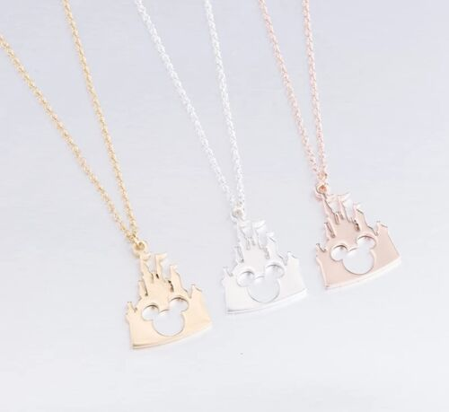 Mickey Head Castle Pendant Necklace Silver Gold Rose Gold UK