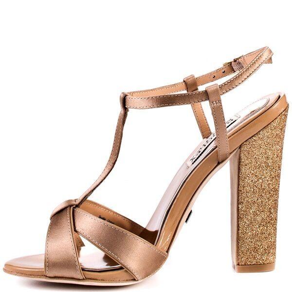 è scontato BADGLEY BADGLEY BADGLEY MISCHKA  200. donna JENIE SATIN LEATHER GLITTER HEELS scarpe SANDALS 8.5  i nuovi marchi outlet online