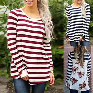 Women-Long-Sleeve-Striped-T-Shirt-Ladies-Floral-Loose-Fit-Blouse-Shirt-Tunic-Top