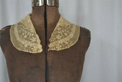 antique collar net lace tambour embroidered hand m