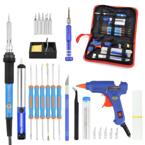 NEWACALOX 60W Temp Adjustable Soldering Iron Kit BGA Welding Tips Tool Bag EU//US