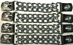 1 AIRBORNE MILITARY DIAMOND CUT CHROME CHAIN MOTORCYCLE VEST EXTENDERS USA MADE