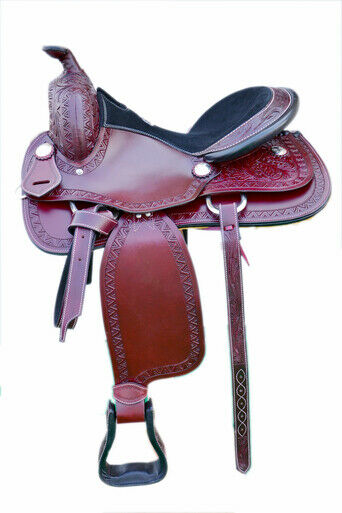Western Mohagony Leather Hand Carved & tooled Pleasure Saddle 16    WS3417