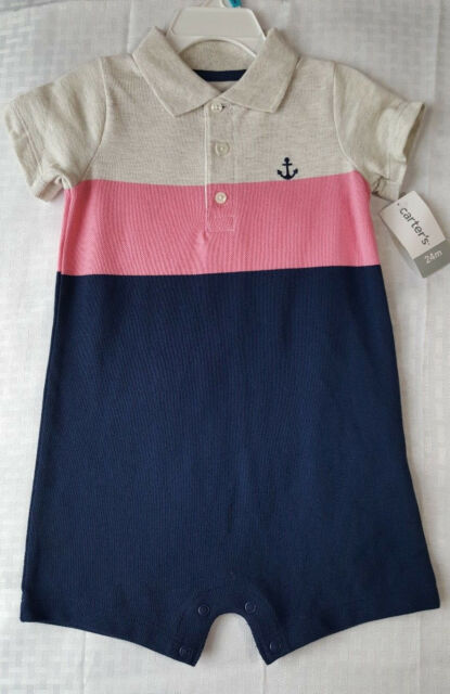 815916496 Carters Baby Boys Blue Pink Beige Striped Polo Romper Sz 24 Months ...