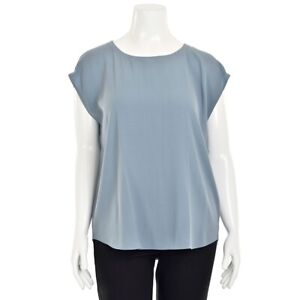 Eileen Fisher Relaxed Muted Blue Silk Crepe Cap Sleeve Blouse Shirt Top sz M