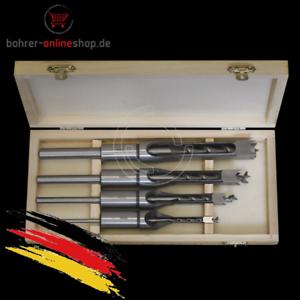 4-tlg-Vierkant-Nutmeisselset-Stemmbohrerset-Holzbohrer-Holzfraeser-Schlitzfraeser
