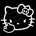 HELLO KITTY MIDDLE FINGER SKULL BOW STICKER VINYL DECAL VEHICLE CAR LAPTOP