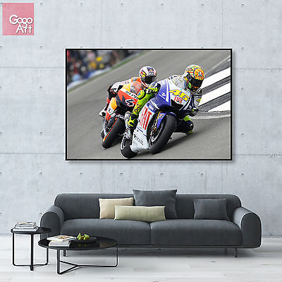 Moto GP Motor Bike Racing Legend Large Poster Canvas Picture Valentino Rossi