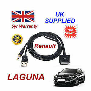 Renault Laguna Audio System iPhone 3GS 4 4S iPod USB & 3.5mm Aux Cable black