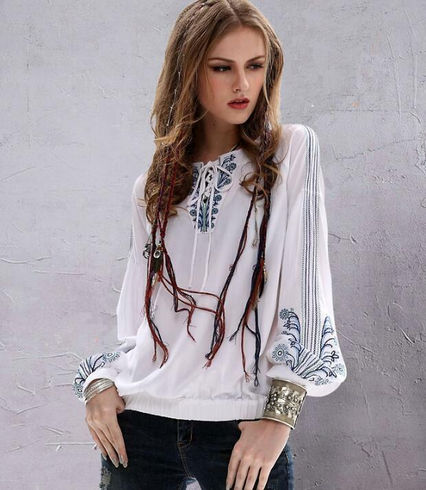 Occident Womens Summer BOHO Ethnic Embroidery Shirt Casual Loose Linen Blouses