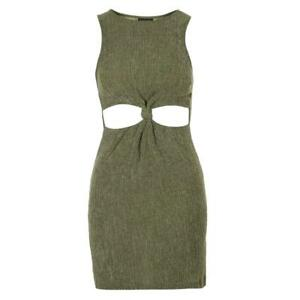 b902b297e4d8a Details about Ex Topshop Green Cut Out Soft Sexy Bodycon Party Mini Dress  Size 6 8 10 12 14