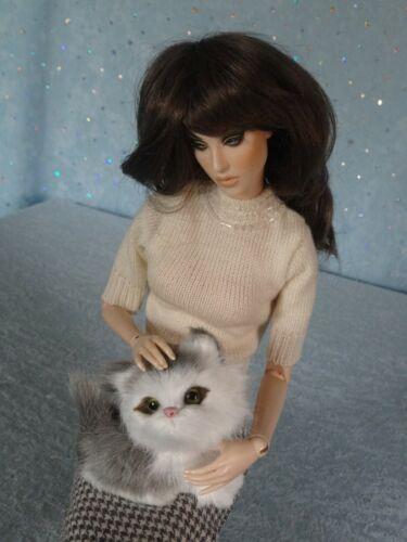 """AllforDoll PET Gray Kitty for 12-16/"""" Tonner Kish Effner Ficon Gene BJD Dolls"""