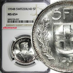 Switzerland-Silver-1954-B-5-Francs-NGC-MS65-Only-3-Graded-Highest-KM-40-027