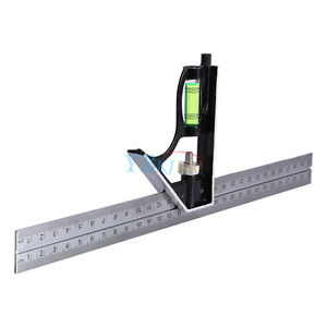 300mm-12-034-Adjustable-Engineers-Combination-Square-Set-Kit-Right-Angle-Ruler-GD