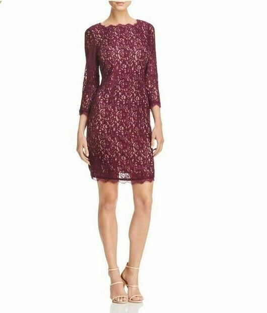 Adrianna Papell Lace Illusion dress mulberry