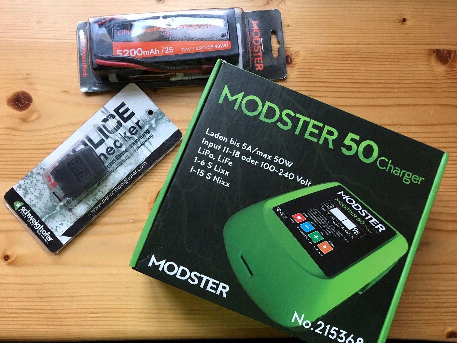 Cargador de modelismo + batería ac dc modster Charger 50 + batería Power Pack 5200 mah 2s