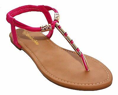Nuevo Para Mujer T-Bar Toe Post Verano Playa de Vacaciones Plana Señoras Sandalia Zapatos Talla 3-8