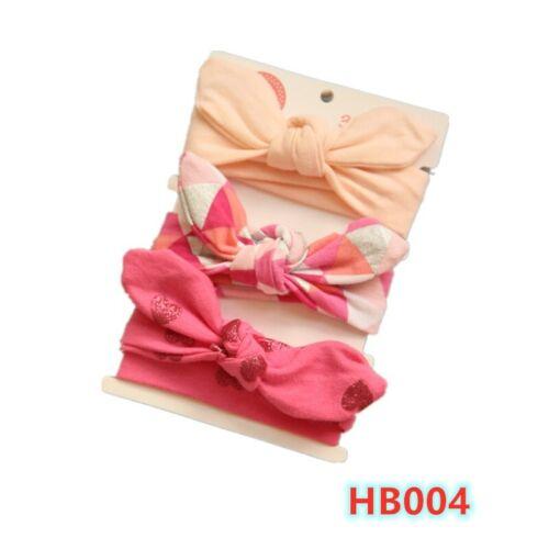 3Pcs Baby Girl Infant Toddler Headbands Set Wrap Top Knot Soft Single Bow Turban