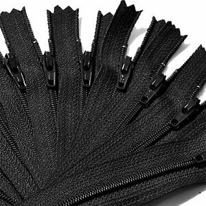 9-Inch-Black-500-Zippers-YKK-number-3-Nylon-Coil-Skirt-and-Dress-Closed-End