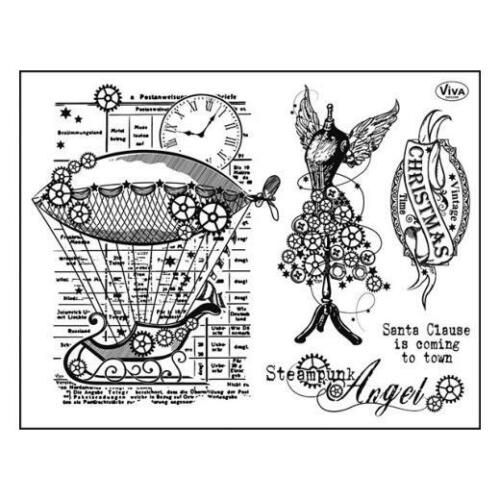 Viva Decor A5 Clear Silicone Stamps Set Steampunk Angel #114