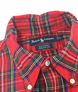 Vintage-Polo-Ralph-Lauren-Mens-The-Big-Shirt-Check-Plaid-Red-Green-Large-32L-24C