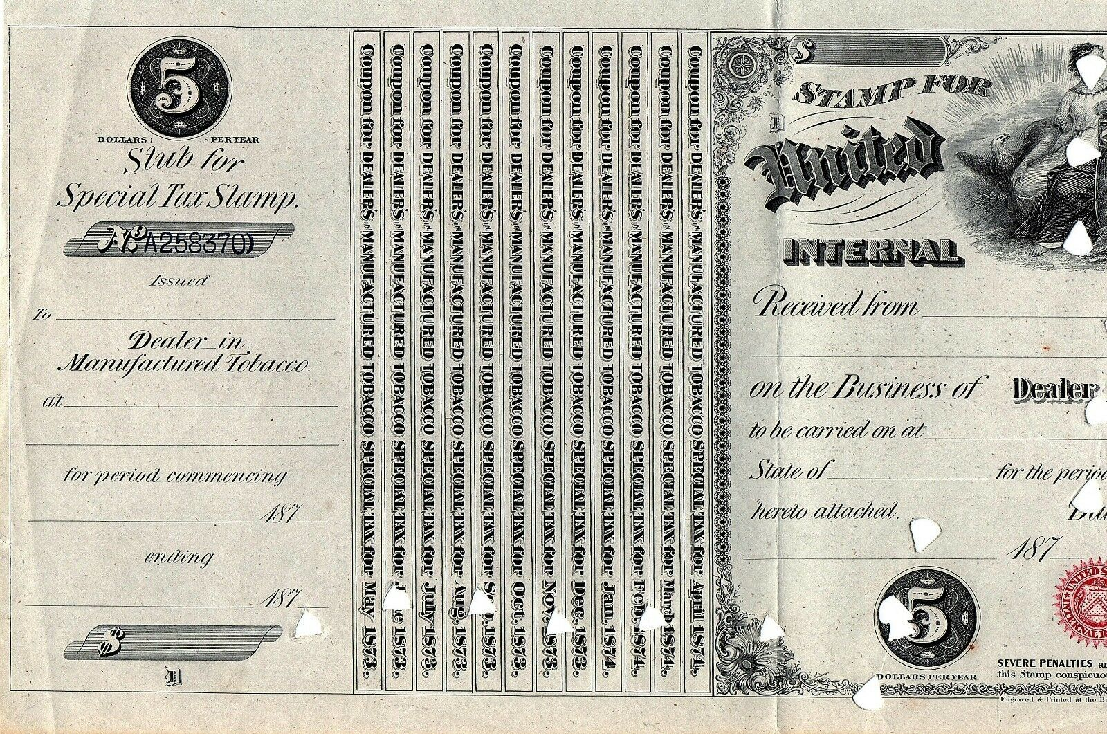 1870's $5 U.S. Internal Revenue, Dealer License Manufac
