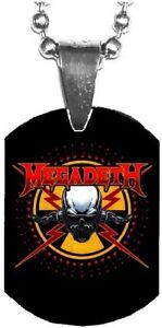 MEGADETH Skull Logo Mini Dog Tag Necklace Metal Balls Chain Rock Merchandise