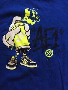 Dibujos Animados De Nike Air Force Grafico Camiseta Atletico Corte Nino Azul Talla Xl Ebay