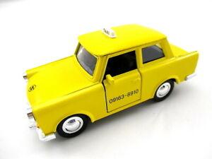 Trabi-Trabant-Taxi-gelb-Modellauto-Metall-1-30-diecast-Auto-DDR-neu