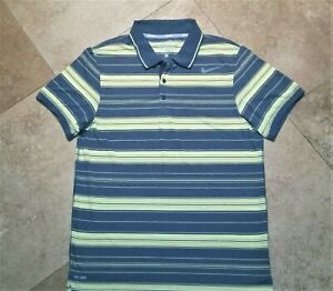 Nike-Tennis-Dri-Fit-Short-Sleeve-Polo-Golf-Shirt-Striped-Polyester-Gray-Yellow-L