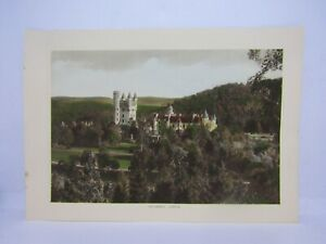 Old-vintage-antique-colour-print-Balmoral-Castle-Scotland-27-x-19-cm-039-s
