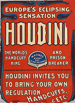 M53 Vintage Harry Houdini King Of Cards Magic Show Poster Re-Print A1//A2//A3//A4