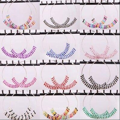 1 Pair Full Crystal Rondelle Beads Charming Basketball Wives Hoop Earrings