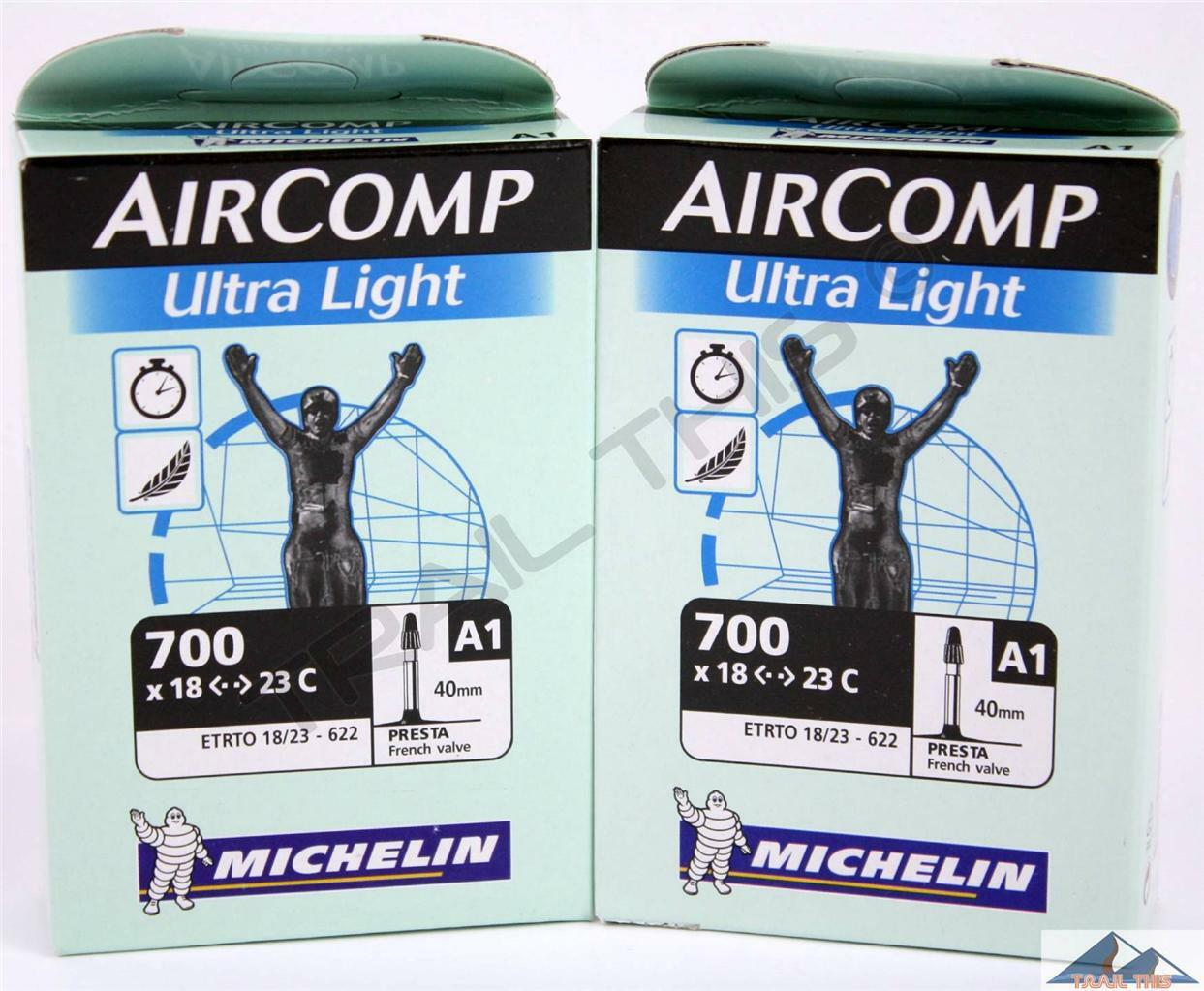 x Michelin AirComp Ultra-Light 700x18//23 Presta 40mm Road Bicycle Tubes Two 2