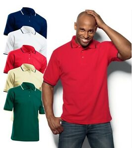 Hanes-Mens-Plain-Cotton-Golf-Sports-Polo-Shirt-with-Striped-Collar-No-Logo