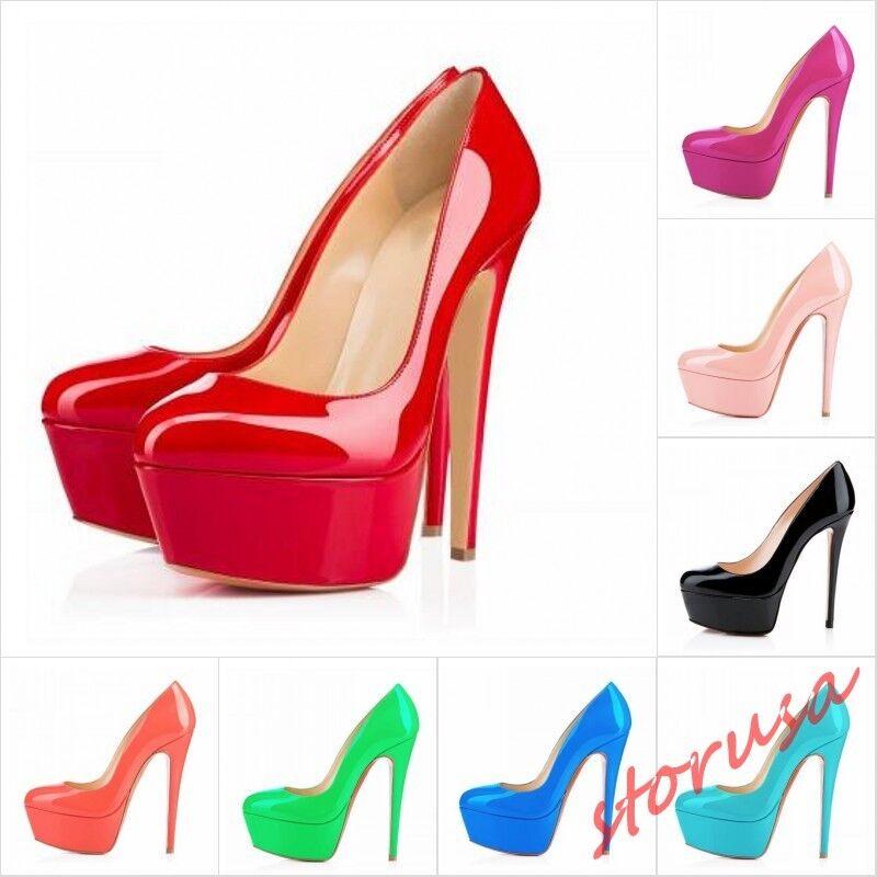 Chaussures femme cuir verni Bout Rond Plateforme Stiletto talons hauts chaussures Candy Couleurs