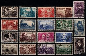 L-039-ANNEE-1940-Complete-Obliteres-Cote-111-Lot-Timbres-France-451-a-469