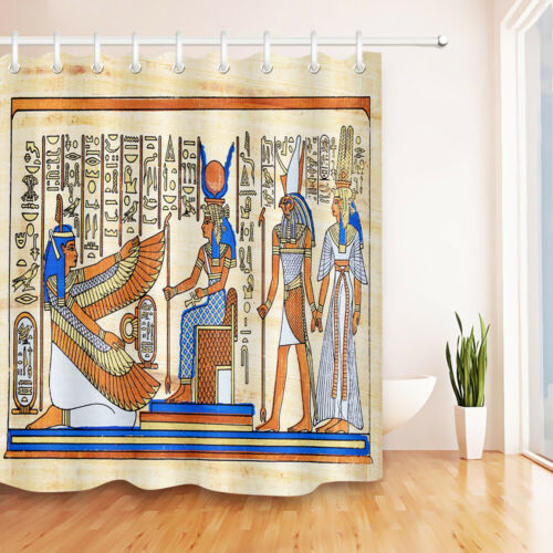 Ancient Egyptian Drawing Goddess Shower Curtain Hooks Bathroom Waterproof Fabric