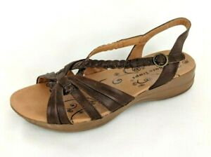 BARE-TRAPS-Women-039-s-Brown-Leather-Strappy-Jacee-Wedge-Comfort-Sandals-Size-US-7
